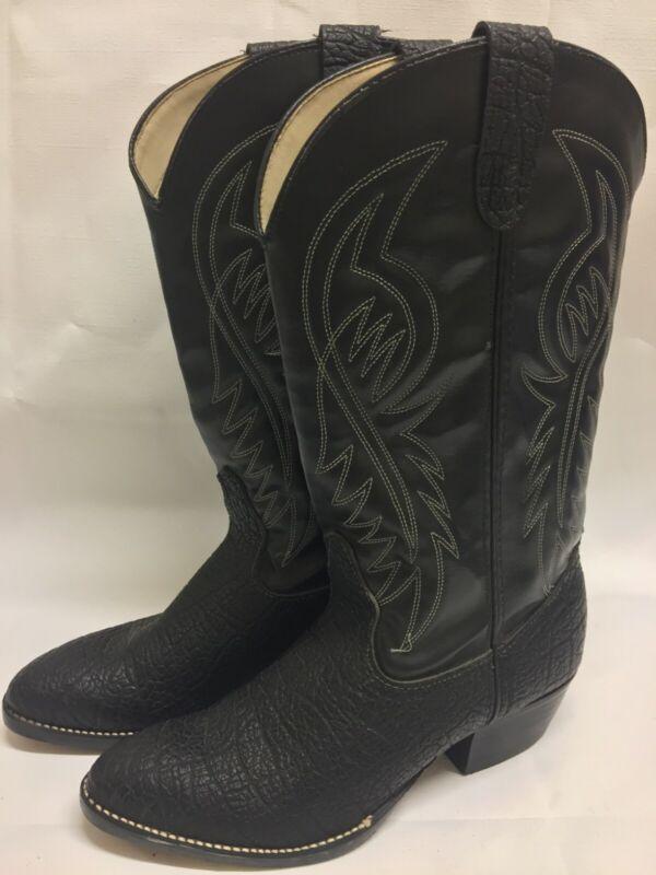 Vintage, Bronco, Western, Cowboy, Boots, Black, Lizard, Skin, Man-Made, Material, Size:, 8,