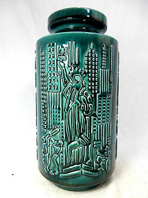 "Rare 70´s design Scheurich Relief Keramik pottery Vase  "" Amerika "" 1023 - 25"