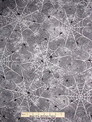 Halloween Fabric - Spider Webs Gray Black Silver Glitter Spooky Halloween - YARD