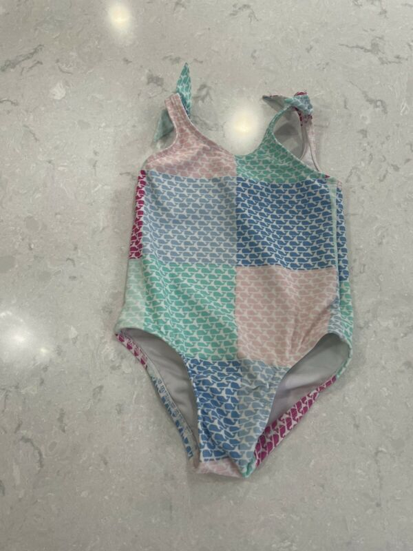 Vineyard Vines Toddler Girls One Piece Patchwork Swimsuit Blue Pink Sz 2T