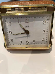 Vintage Elgin Travel Alarm Clock Made in Germany Compact Brown Case