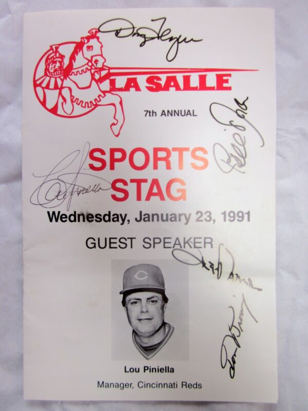La Salle Sports Stag 1/23/1991 Autographed Program Lou Piniella Speaker Reds
