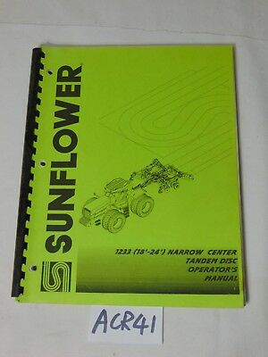 Opperators Manual Farm Book Sunflower 1233 18-24 Narrow Center Tandem Disc