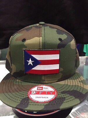 (New Era NE400 Camo Snapback Flat Bill Cap w/ Puerto Rico Rican Flag)