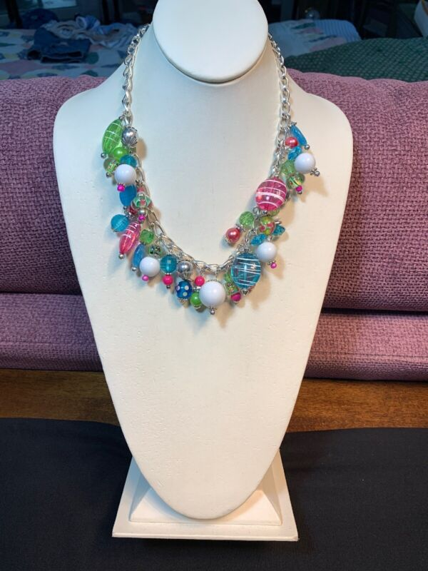 Vintage Pink Green Blue Lucite & Glass Beaded Necklace Dangle Charm Style