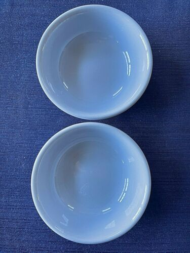 2-BUFFALO CHINA~Lune Blue~Restaurant Ware~Rimmed Soup Cereal Bowls~NICE!