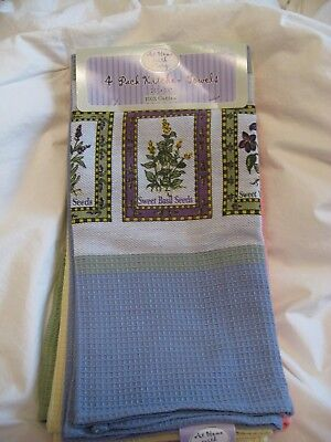 AT HOME WITH MOLLY DISH TOWEL SET OF FOUR ASSORTED COLORS BOTANICAL PRINTS NWT