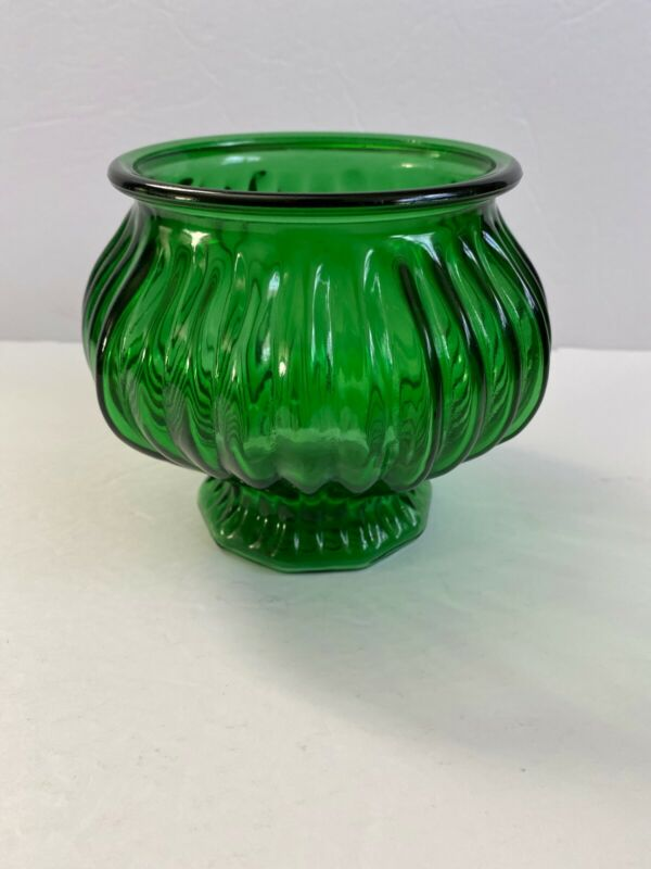 E O Brody Co Emerald Green Glass Pedestal Planter Vase Candy Dish