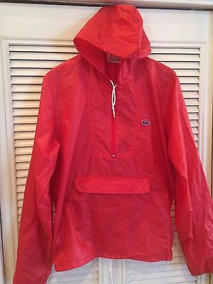 Vintage IZOD Lacoste Red Hooded Windbreaker Men's Size Medium AWESOME! Alligator for sale  Shipping to India