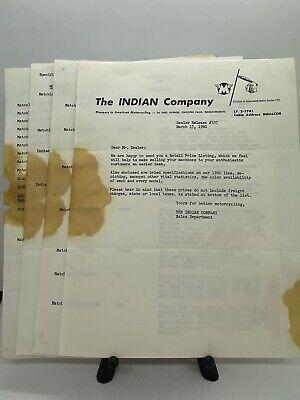 Original Vintage 1960 Indian Motorcycle Dealer Release #337 Price List Letter