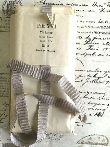 1 yd Vintage Antique French Rayon/Cotton Gray Rouched PleatedRibbon