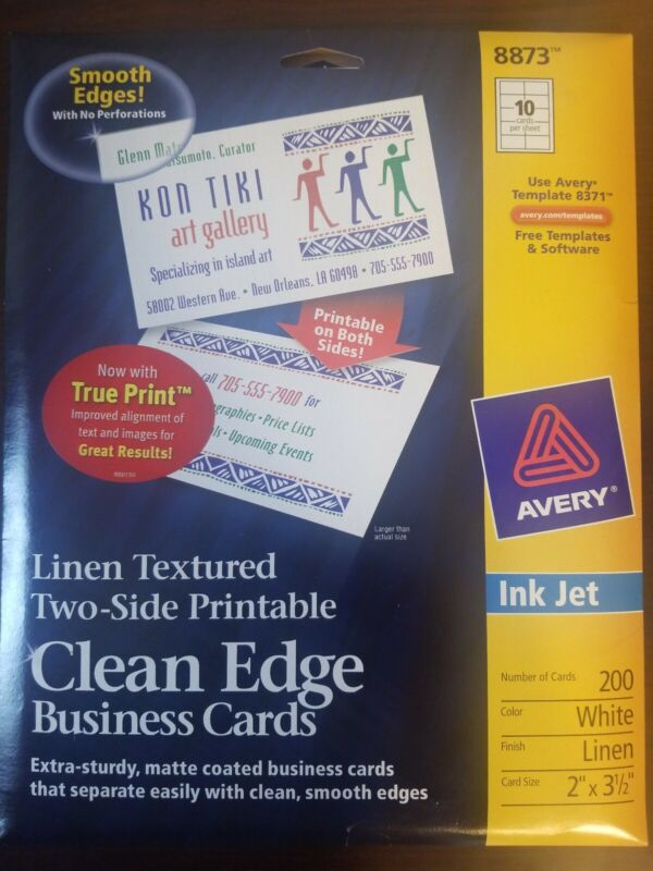 Avery Linen-Textured Two-Side Clean Edge Business Cards for Inkjet Printers