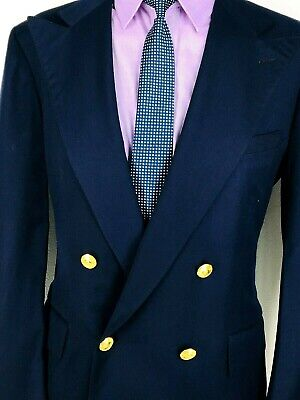 41R Polo By Ralph Lauren Mens Double Breasted Blazer Jacket Dark Navy Mint!