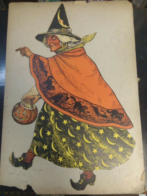 Halloween Vintage Beistle Die Cut Witch Guaranteed AUTHENTIC Early 1930