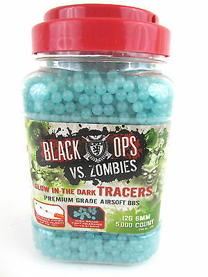 BLACK OPS VS. ZOMBIES 5,000 AIRSOFT BBs - 12G 6MM - GLOW IN THE (12g Bbs Black Airsoft Gun)