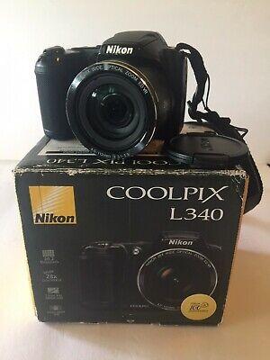 Nikon Coolpix L340 20.2MP Digital Camera | Black | 20.2 MP | 28X Zoom | TESTED