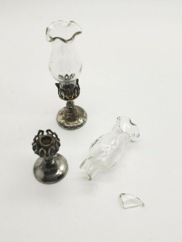 Antique William B Meyers Miniature Dollhouse Sterling Silver Hurricane Lamps ***