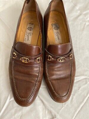Vintage Authentic GUCCI Brown Leather Loafers with GG Gold Buckle Size 41