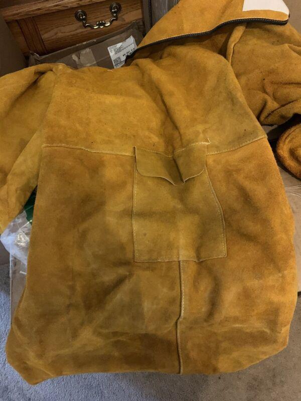Gotega Welding Jacket Leather Welding Apron Heat & Flame-Resistant Heavy-Duty L