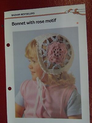(Rose Motif Bonnet Hat crochet PATTERN INSTRUCTIONS FREE SHIPPING)