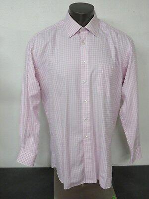Ike Behar Long Sleeve Button Front Dress Shirt Pink White 17 1/2 35 Cotton
