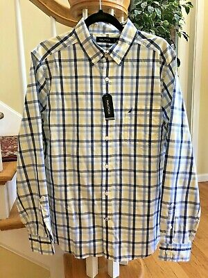 NEW Nautica Mens Shirt Size Large Button Down Blue Yellow Plaid MSRP $69.50.