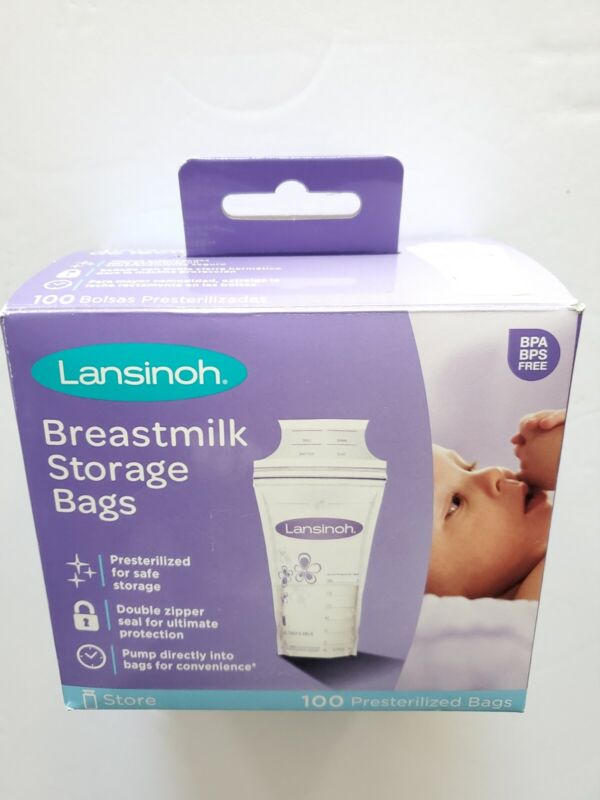 Lansinoh Breastmilk Storage Bags, 75 count. Open box with 75 remaining bags.