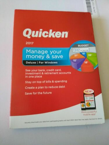 Intuit Quicken Deluxe 2017 For Windows PC - Pre-owned.  Excellent Condition.