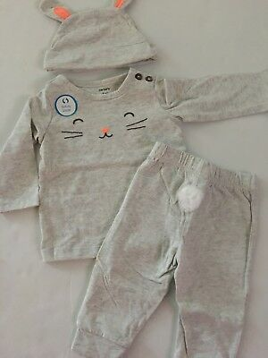 Carters Baby Boy Girl Easter Shirt Pants Hat Set Outfit Size 3 6 24 Months Grey Carters Boy Girl Baby Pants