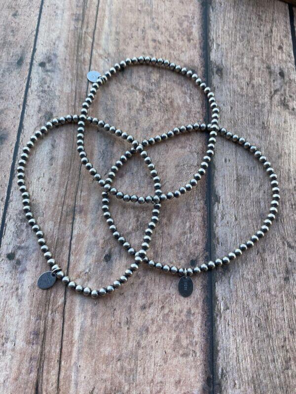 Sterling Silver 3mm Elastic Navajo Pearl Beaded Bracelet