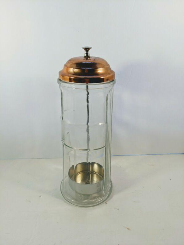 """Vtg Gemco Soda Fountain Straw Dispenser Holder Gold Color Lid & Glass 11"""" Tall"""
