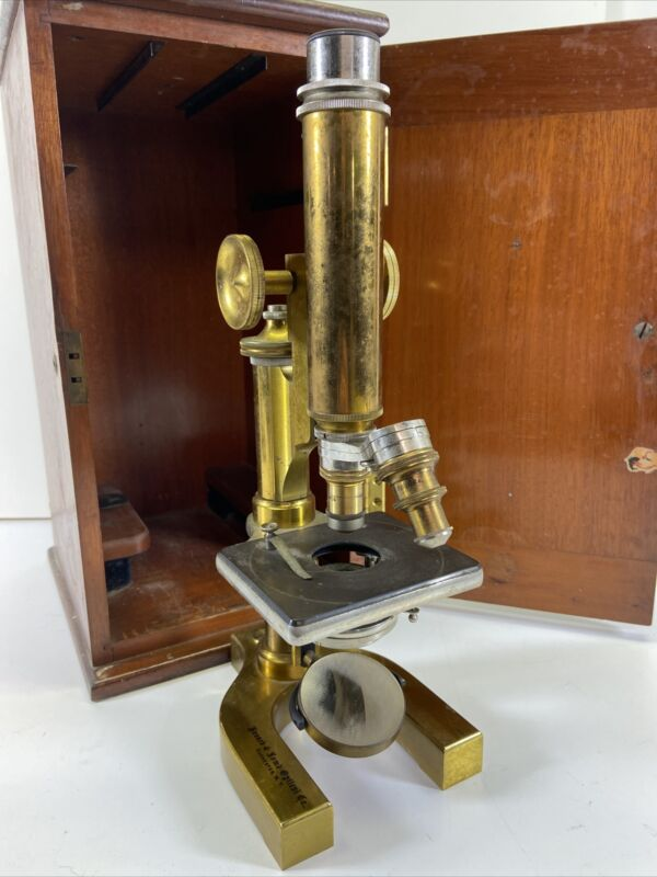 Antique Bausch & Lomb Optical Co. Brass Microscope w/ Wood Case 1899-1903