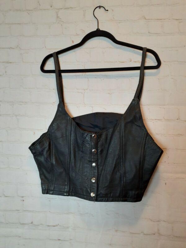 Vintage Womens Size XXL Leather Biker Vest Tank Top