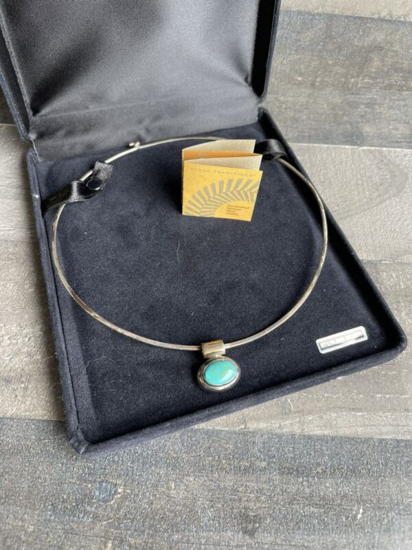 TAXCO MEXICO MEXICAN STERLING SILVER 925 CHOKER COLLAR NECKLACE With Stone