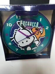 "Vintage 1996 Pochacco ""The Cool K-9"" - 8"" Wall Clock Teal Purple Retro"