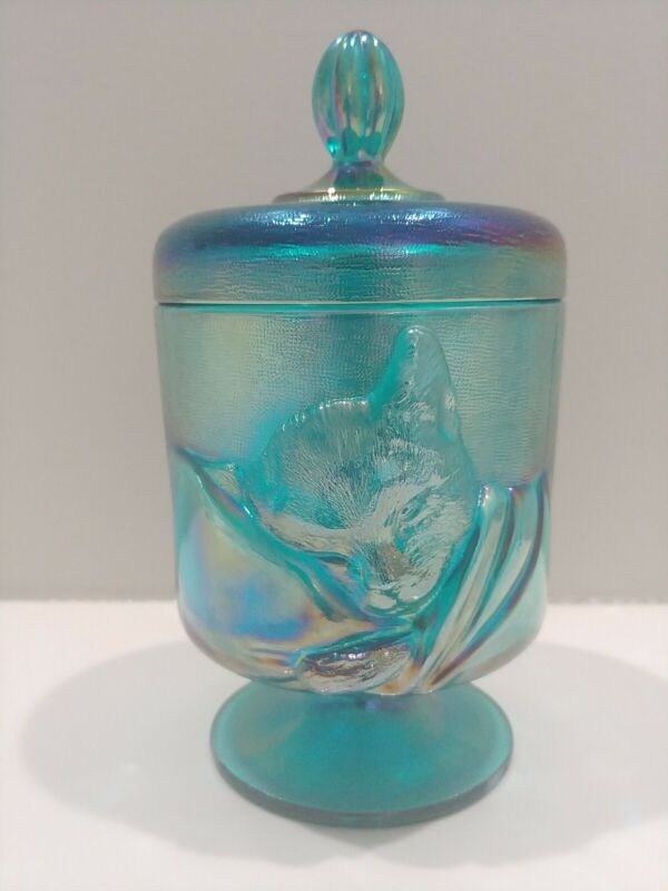 """FENTON BLUE / TEAL CARNIVAL GLASS """"CHESSIE"""" CAT CANDY BOX JAR WITH LID ~ MINT!"""