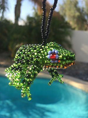 Handmade Guatemalan Beaded Frog Holiday Ornament Gift