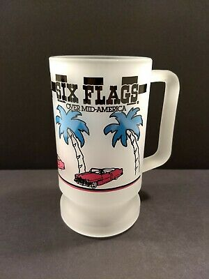 Six Flags Vintage Frosted Glass Mug 80's 90's Over Mid-America Palm Trees & Cars