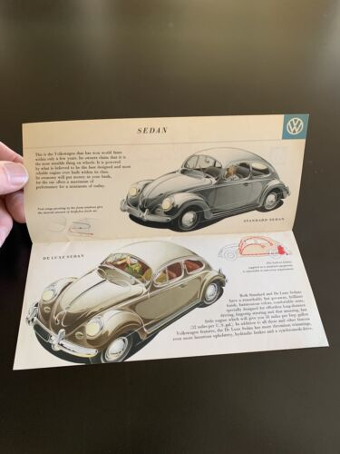 1958 VW Beetle Bug Air Cooled Sedan Convertible Sales Brochure - $16.99