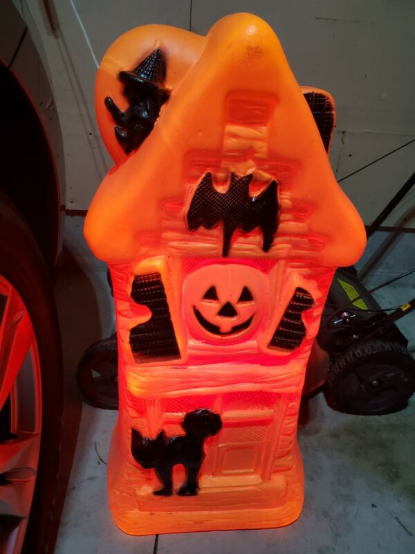 """Vintage 32""""  Halloween General foam haunted house Bat cat witch blow mold"""