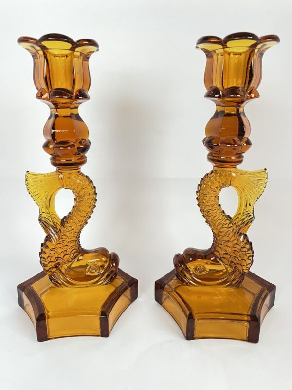 Vintage Westmoreland Amber Glass Dolphin / Koi Fish Candle Holders Candlesticks