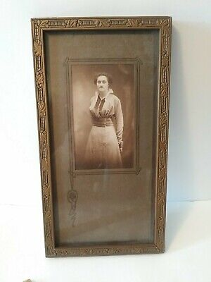 """Small Art Deco Frame Fits 11"""" X 5.5"""" Vintage Gold Tone Wood Picture"""