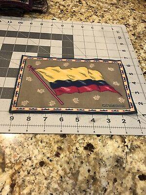 "1900'S FELT BLANKET 8"" X 5 1/4"" ECUADOR FLAG TOBACCO"