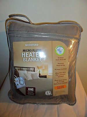 BIDDEFORD MICRO PLUSH HEATED ELECTRIC BLANKET KING GRAY TWO CONTROLLERS