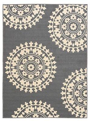 Rubber Backed Non-Skid Non-Slip Gray - Ivory Color Medallion Design Area Rug - Non Skid Kitchen Rug