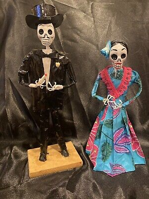Day Of The Dead Frida Khalo Paper Mache Dolls And Man Catrin