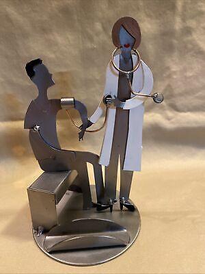 H K Metal  Sculpture Female Dr. Nurse Practitioner Pa Business Card Holder