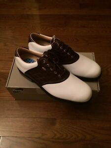 White and Brown Etonic Golf shoes