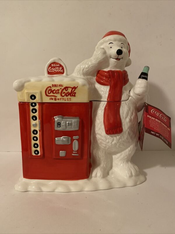 Collectible Coca Cola Polar Bear Vintage Coke Vending Machine Cookie Jar Ceramic