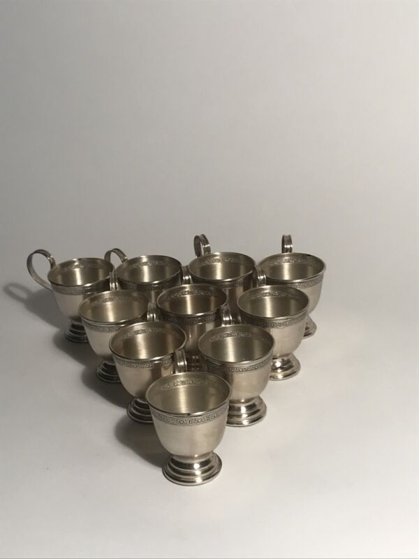 Sterling Silver Espresso Cups. Set Of 10. Total 260g.